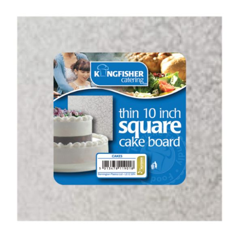 "Square 3mm Thin - Silver Foiled Cakeboard by Kingfisher Catering - 25cm 30cm 10"" 12 (2)"